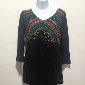 Maurices Embroidered baby doll shirt bell sleeves